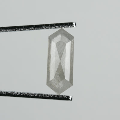 1.93 ct Semi-translucent Grey Hexagon Rose Cut Diamond