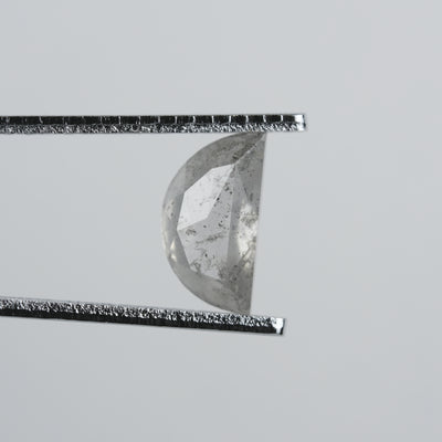 1.82 ct Semi-Translucent Grey Speckled Crescent Rose Cut Diamond