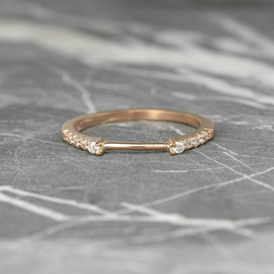 5 Diamond Wedding Cuff, Harper Setting, , 14k Rose Gold