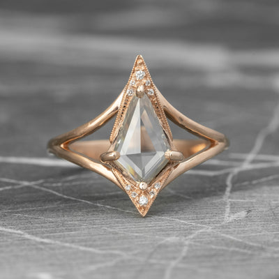.86 Carat Kite Diamond Engagement Ring, Arwen Setting, 14K Rose Gold