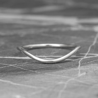 Classic Contour Wedding Band, 14K White Gold