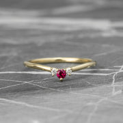Ruby and White Diamond Wedding Band