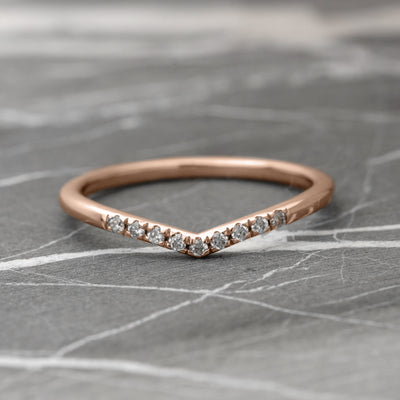 White Diamond Vivian Band, Shallow Contour, 14K Rose Gold