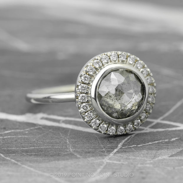 2.04 Carat Grey Round Diamond Engagement Ring, Bezel Halo Setting, 14k White Gold