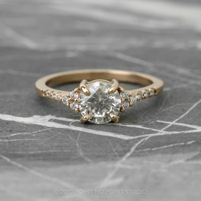 1.39 Carat Salt & Pepper Diamond Engagement Ring, Quincy Setting, 14K Rose Gold