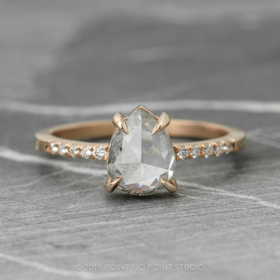 1.61 Carat Opalescent Grey Pear Diamond Engagement Ring, Jules Setting, 14K Rose Gold