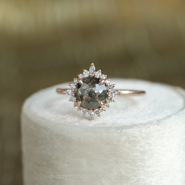 1.62 Carat Round Diamond Engagement Ring, Cosette Setting, 14K Rose Gold