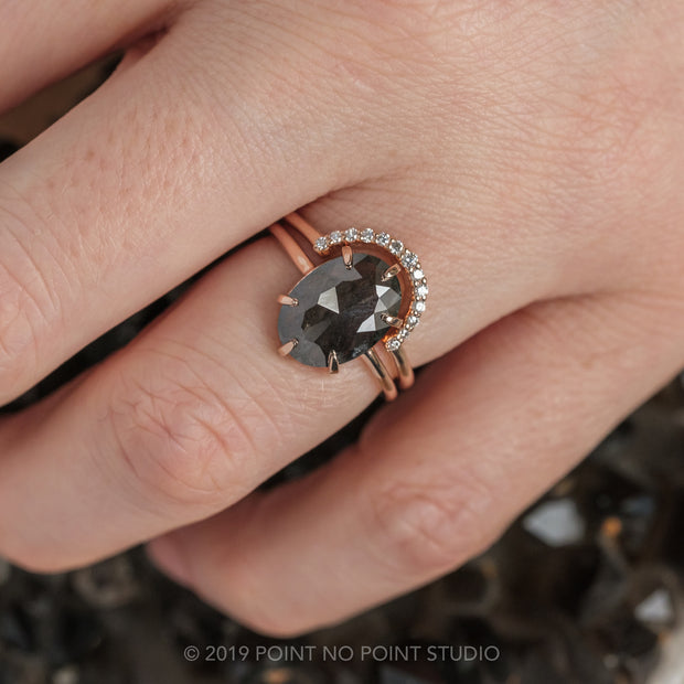 Black Speckled Oval Diamond Engagement Ring