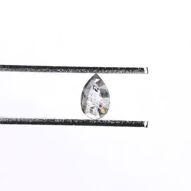 .48 ct Black Speckled Pear Rose Cut Diamond