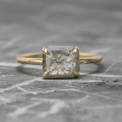 1.18 Carat Icy White Emerald Shaped Diamond Engagement Ring, Jane Setting, 14K Yellow Gold