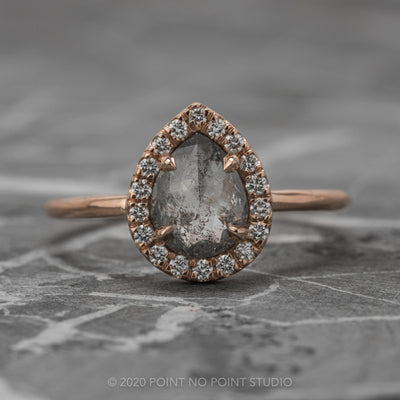 Salt & Pepper Pear Diamond Engagement Ring