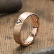 Triangle Diamond Mens Wedding Band, Comfort Fit, 14K Rose Gold