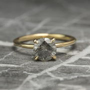 .88 Carat Salt & Pepper Diamond Engagement Ring, Jane Setting, 14k Yellow Gold