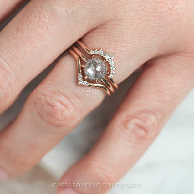 1.31 Carat Grey Speckled Round Diamond Engagement Ring, Jane Setting, 14K Rose Gold