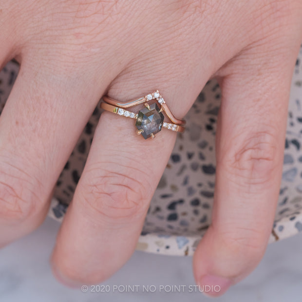 Black Speckled Hexagon Diamond Engagement Ring