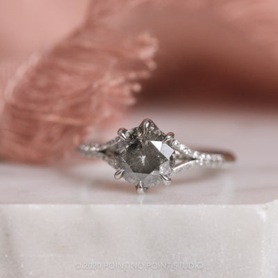 Custom Salt & Pepper Platinum Mackenzie Engagement Ring