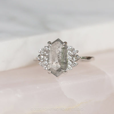 1.98 Carat Grey Salt & Pepper Hexagon Diamond Engagement Ring, Eleanor Setting, 14k White Gold