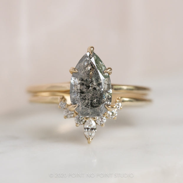 1.98 Carat Salt & Pepper Pear Diamond Engagement Ring, Madeline Setting, 14k Yellow Gold