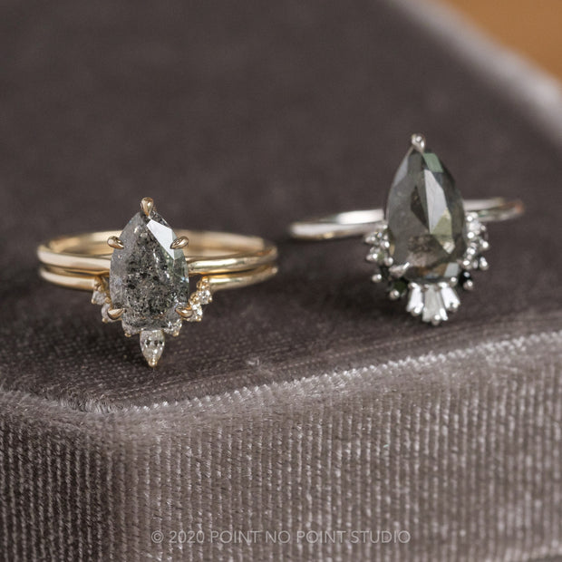 Black Speckled Pear Diamond Engagement Ring