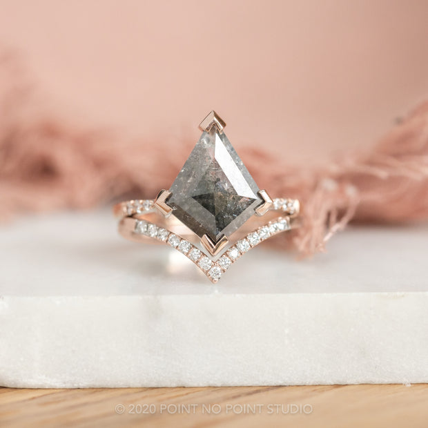 2.91 Carat Black Speckled Kite Diamond Engagement Ring, Jules Setting, 14K Rose Gold