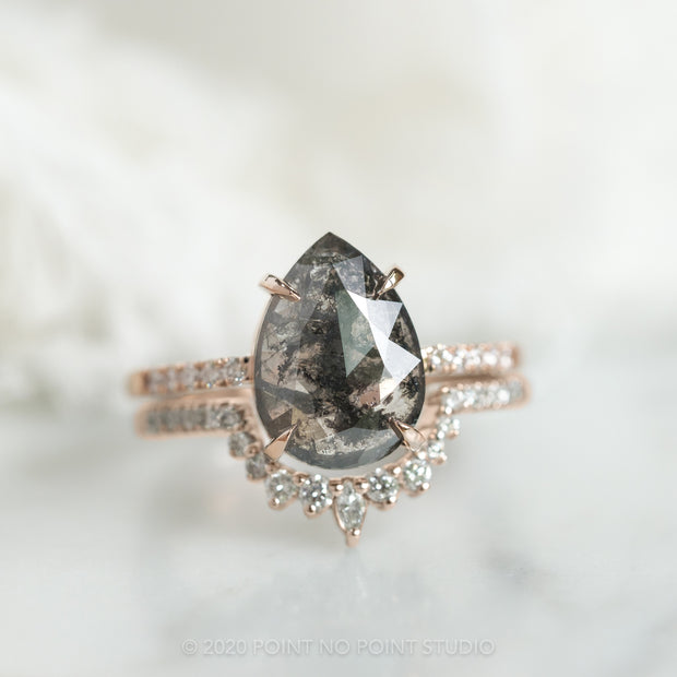 2.14 Carat Black Speckled Pear Diamond Engagement Ring, Jules Setting, 14K Rose Gold