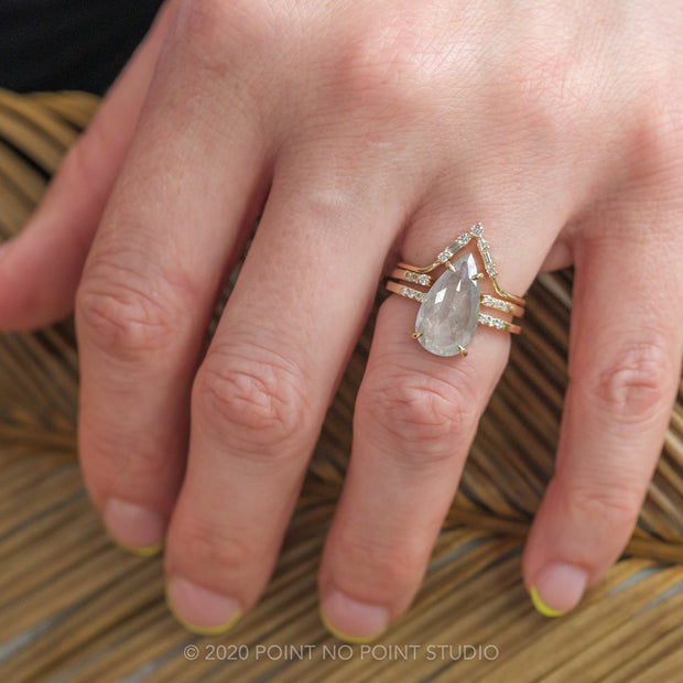 3.97 Carat  Translucent Light Grey Pear Diamond Engagement Ring, Jules Setting, 14K Yellow Gold