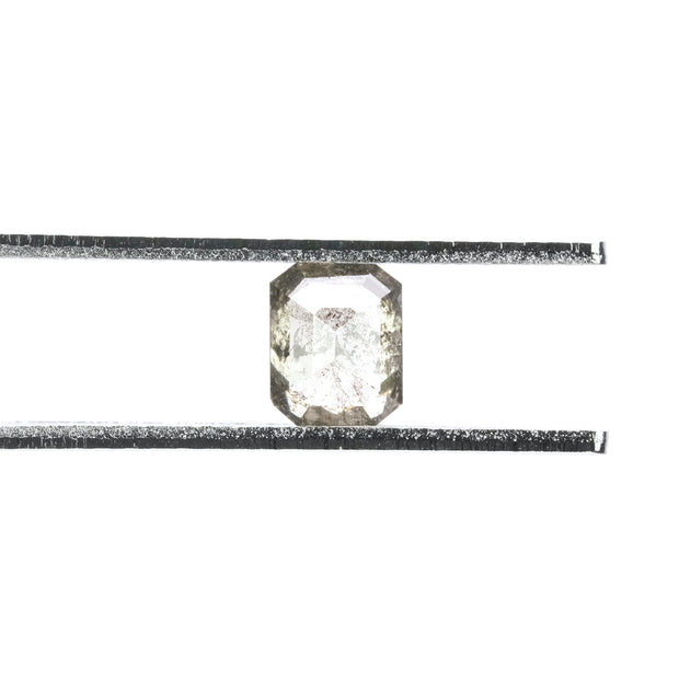 1.26ct Salt & Pepper Emerald Shaped Rose Cut Diamond
