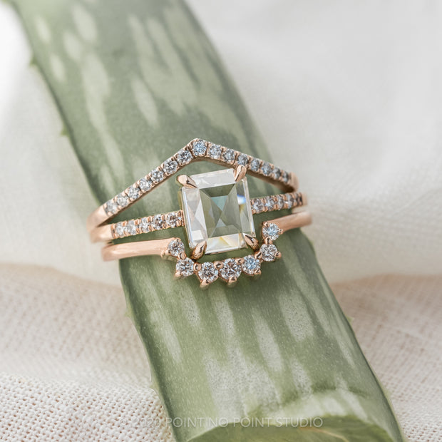 1.55 Carat Clear Emerald Shaped Diamond Engagement Ring, Jules Setting, 14K Rose Gold