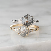 1.74 Carat Salt & Pepper Hexagon Diamond Engagement Ring, Ombre Eliza Setting, 14K Yellow Gold