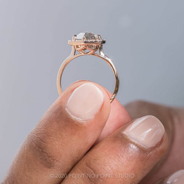 Custom Hexagon Halo Engagement Ring