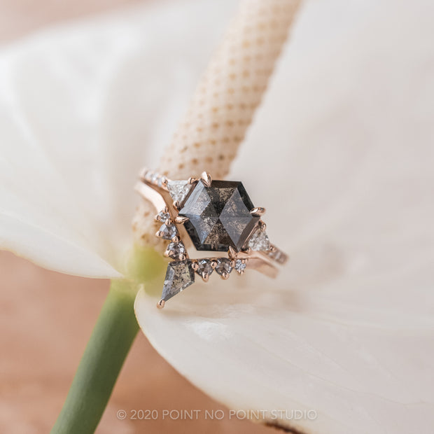 2.48 Carat Black Speckled Hexagon Diamond Engagement Ring, Eliza Setting, 14K Rose Gold