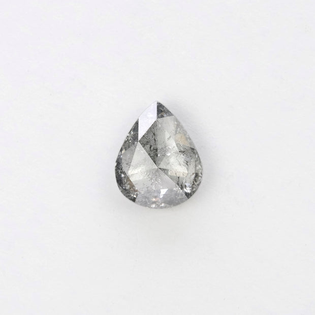 .96ct Translucent Salt & Pepper Pear Rose Cut Diamond