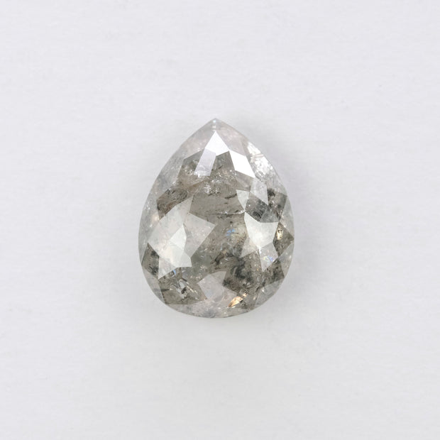 2.53ct Salt & Pepper Pear Rose Cut Diamond