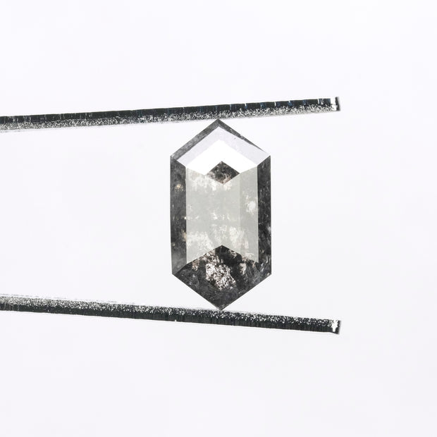 2.97ct Black Speckled Hexagon Rose Cut Diamond