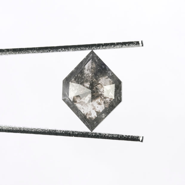 3.17ct Black Speckled Hexagon Rose Cut Diamond