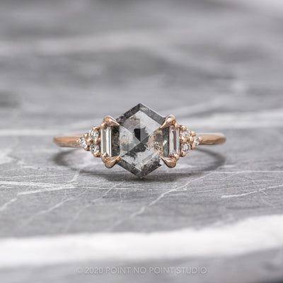 Custom hexagon diamond engagement ring