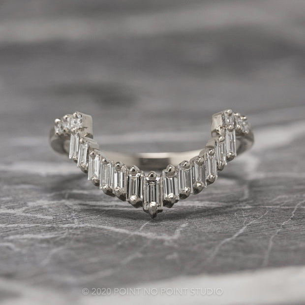 Baguette and Princess Cut Diamond Wedding Band, Gretchen Setting, 14K White Gold