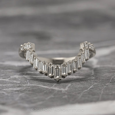 Baguette and Princess Cut Diamond Wedding Band, Gretchen Setting, Platinum