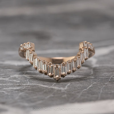 Baguette and Princess Cut Diamond Wedding Band, Gretchen Setting, 14K Rose Gold