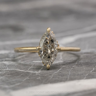 1.06 Carat Salt & Pepper Marquise Diamond Engagement Ring, Rhea Setting, 14K Yellow Gold
