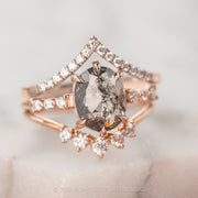 1.44 Carat Salt & Pepper Oval Diamond Engagement Ring, Nova Setting, 14K Rose Gold