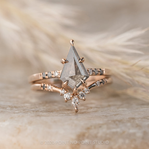 1.04ct Black Speckled Kite Diamond Engagement Ring, Ombre Jules Setting, 14K Rose Gold