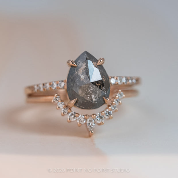 2.28 Carat Black Speckled Pear Diamond Engagement Ring, Jules Setting, 14K Rose Gold