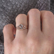 1.51ct Salt & Pepper Oval Diamond Engagement Ring, Wisteria Setting, 14K Rose Gold