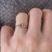 1.16ct Salt & Pepper Oval Diamond Engagement Ring, Wisteria Setting, 14K Rose Gold