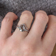 2.17ct Salt & Pepper Pear Diamond Engagement Ring, Eliza Setting, 14K White Gold