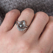 2.74 Carat Salt & Pepper Pear Diamond Engagement Ring, Jules Setting, 14K White Gold
