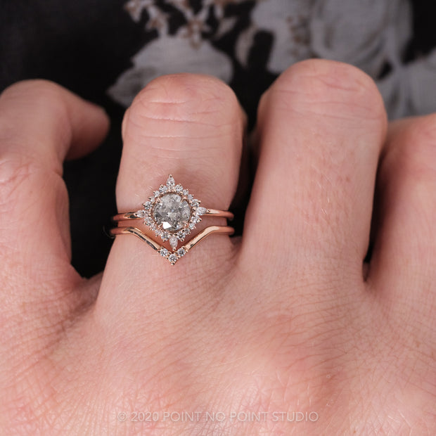 .95ct Salt & Pepper Round Diamond Engagement Ring, Cosette Setting, 14K Rose Gold