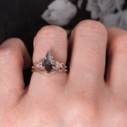 1.91ct Black Speckled Kite Diamond Engagement Ring, Quinn Setting, 14K Rose Gold