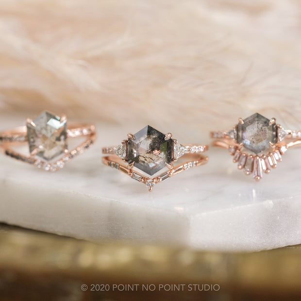 3.06ct Hexagon Diamond Engagement Ring, Eliza Setting, 14K Rose Gold
